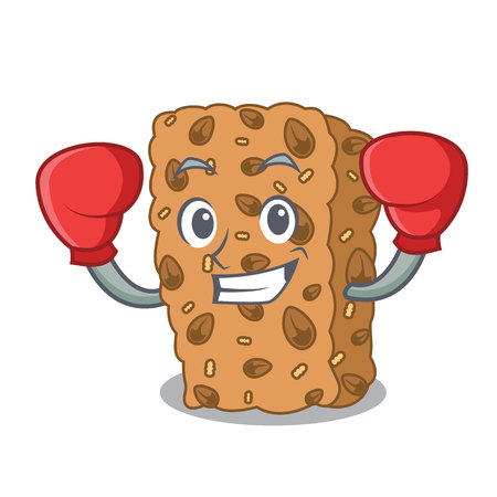 Boxing granola bar character cartoon vector illustration  イラスト・ベクター素材