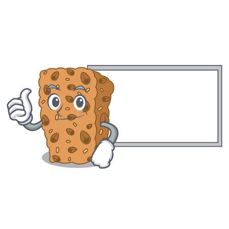 Thumbs up with board granola bar character cartoon vector illustration