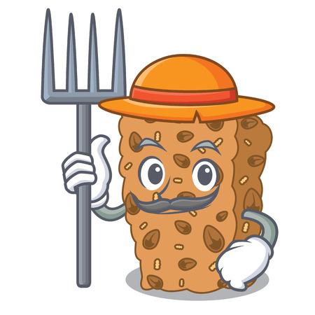 Farmer granola bar character cartoon vector illustration