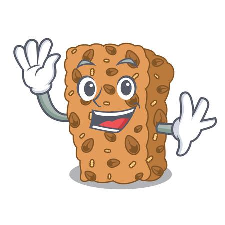 Waving granola bar character cartoon vector illustration