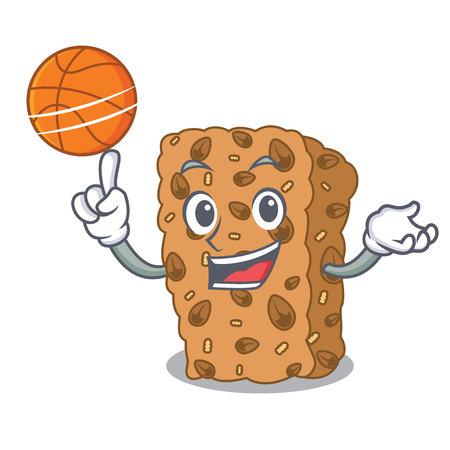 With basketball granola bar character cartoon Ilustração