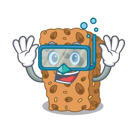 Diving granola bar character cartoon