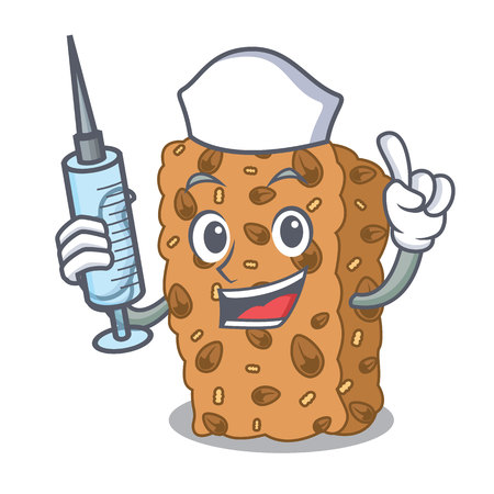 Nurse granola bar character cartoon Illustration