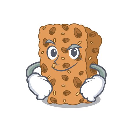 Smirking granola bar character cartoon