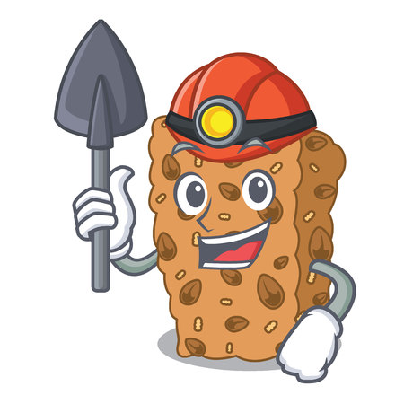 Miner granola bar mascot cartoon Illustration
