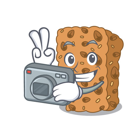 Photographer granola bar mascot cartoon