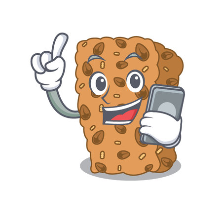 With phone granola bar character cartoon vector illustration