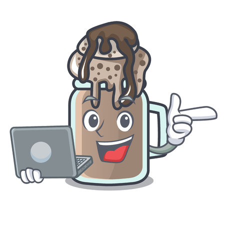 With laptop milkshake character cartoon style  イラスト・ベクター素材