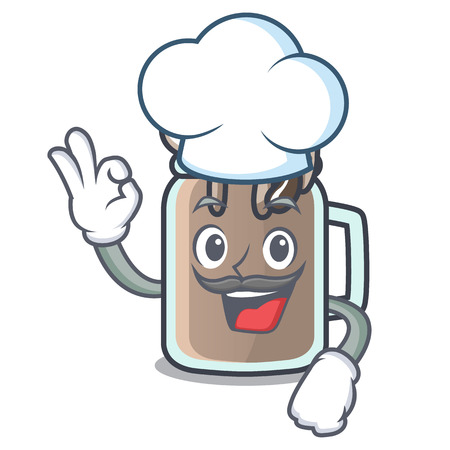 Chef milkshake character cartoon style 일러스트