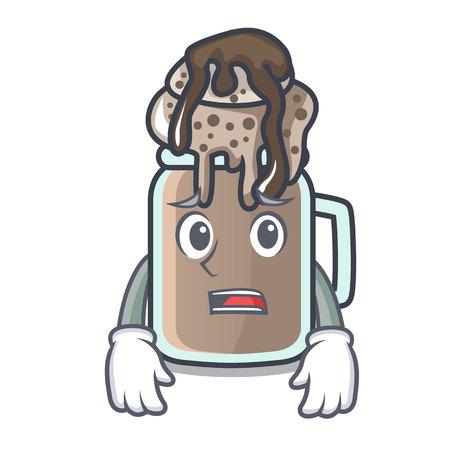 Afraid milkshake mascot cartoon style