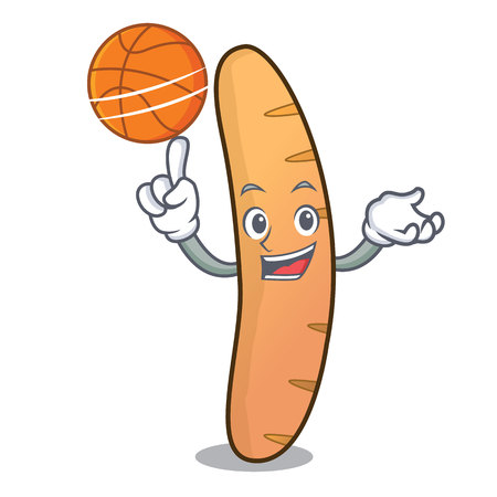 With basketball baguette character cartoon style