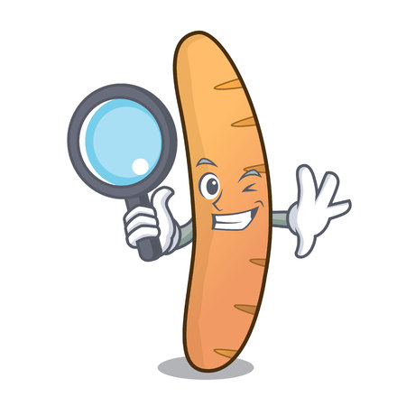 Detective baguette character cartoon style