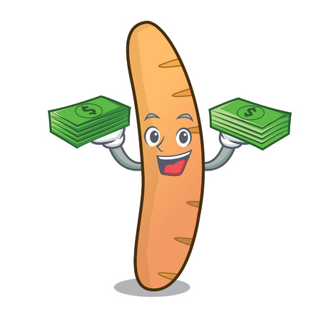 With money bag baguette mascot cartoon style vector illustration