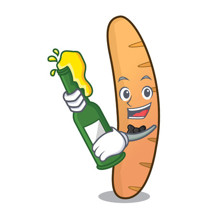 With beer baguette mascot cartoon style vector illustration Illustration