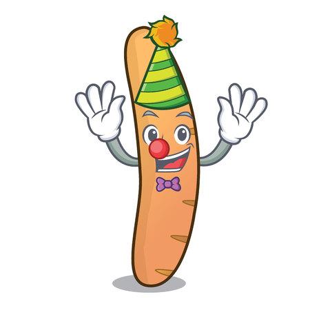 Clown baguette mascot cartoon style vector illustration