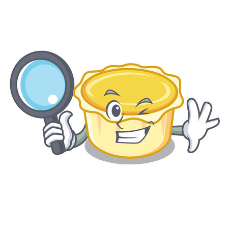 Detective egg tart character cartoon vector illustration Illustration