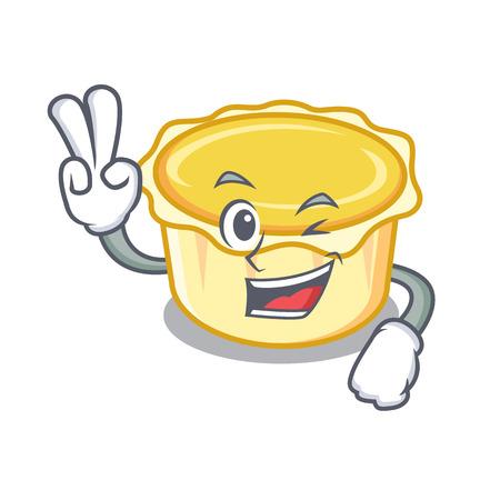 Two finger egg tart character cartoon vector illustration