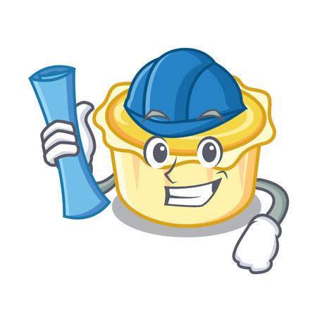 Architect egg tart character cartoon vector illustration