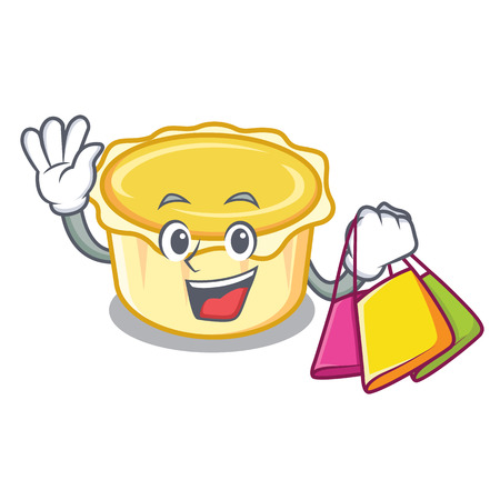 Shopping egg tart character cartoon vector illustration