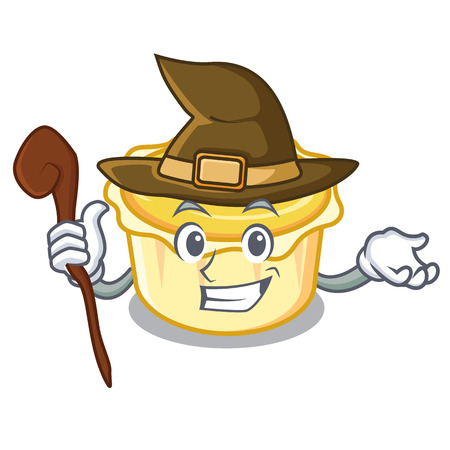 Witch egg tart mascot cartoon vector illustration