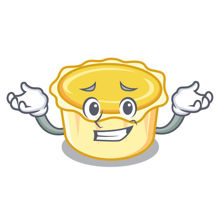 Grinning egg tart character cartoon vector illustration Illustration