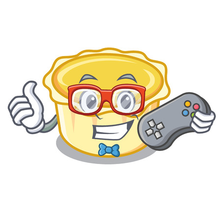 Gamer egg tart mascot cartoon vector illustration