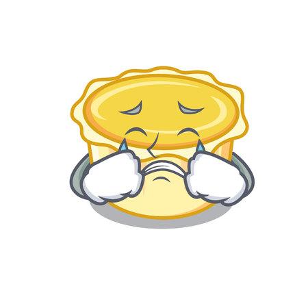 Crying egg tart mascot cartoon vector illustration