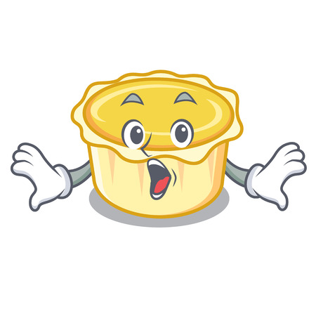 Surprised egg tart mascot cartoon vector illustration Illustration