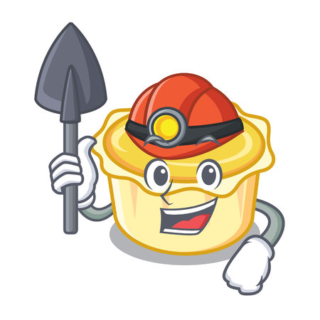 Miner egg tart mascot cartoon vector illustration