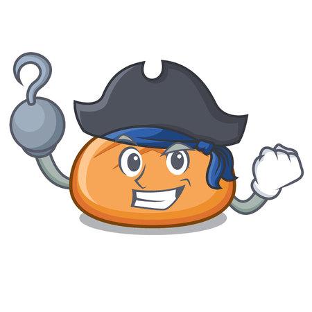 Pirate hamburger bun character cartoon vector illustration