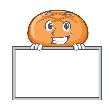 Grinning with board hamburger bun character cartoon vector illustration Illustration