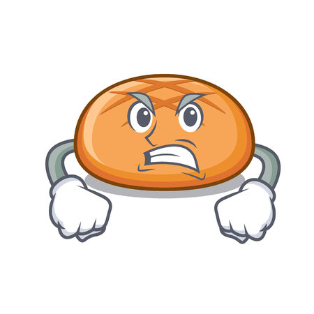 Angry hamburger bun mascot cartoon vector illustration