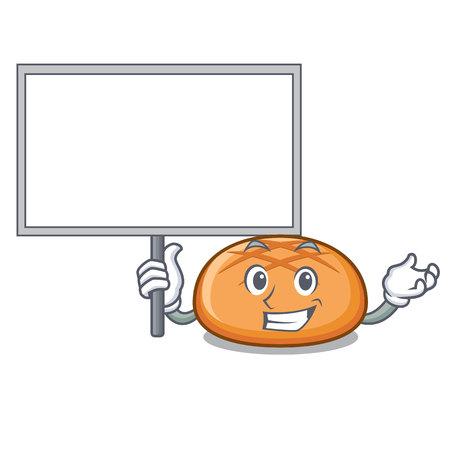 Bring board hamburger bun character cartoon vector illustration