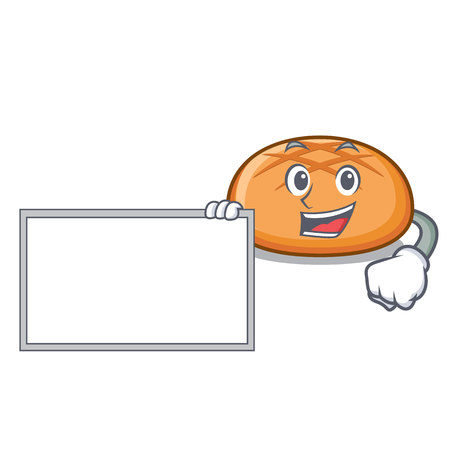 With board hamburger bun character cartoon vector illustration