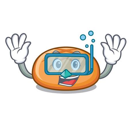 Diving hamburger bun character cartoon vector illustration