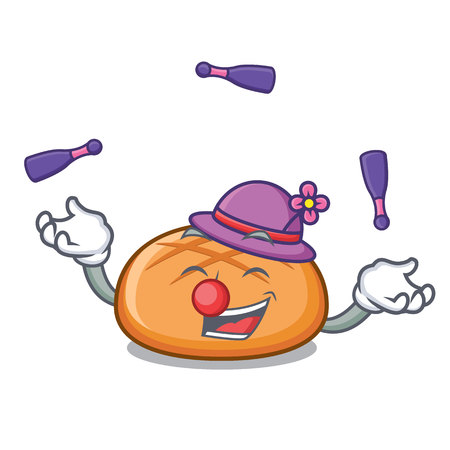 Juggling hamburger bun mascot cartoon vector illustration