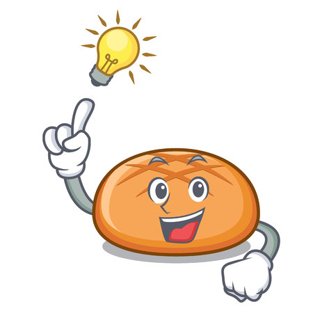 Have an idea hamburger bun mascot cartoon vector illustration Ilustração