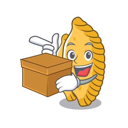 With box pastel character cartoon style vector illustration