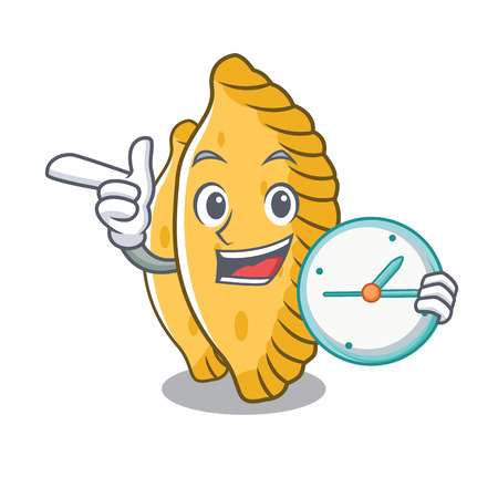With clock pastel character cartoon style vector illustration