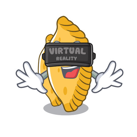 Virtual reality pastel mascot cartoon style vector illustration