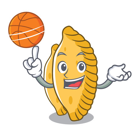 With basketball pastel character cartoon style vector illustration