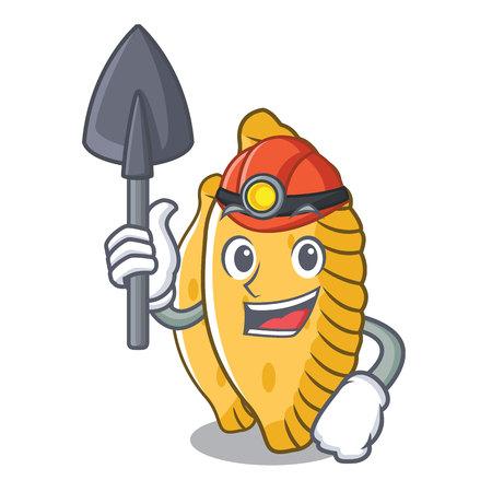 Miner pastel mascot cartoon style vector illustration