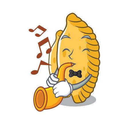 With trumpet pastel mascot cartoon style vector illustration Illustration