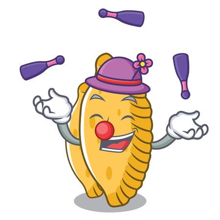 Juggling pastel mascot cartoon style vector illustration