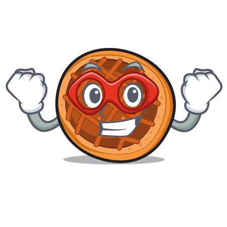 Super hero baked pie character cartoon vector illustration