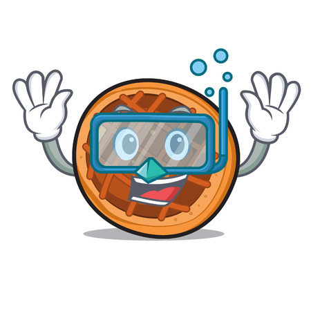 Diving baked pie character cartoon vector illustration