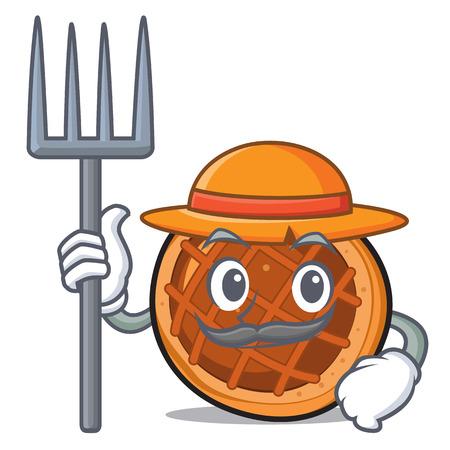 Farmer baked pie character cartoon vector illustration Vettoriali