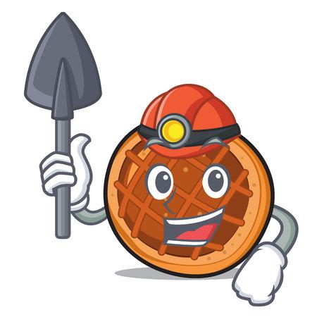 Miner baked pie mascot cartoon vector illustration