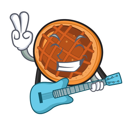 With guitar baked pie mascot cartoon