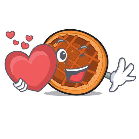 With heart baked pie mascot cartoon
